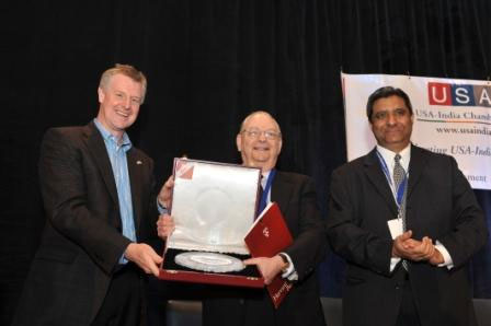 USA - India Chamber of Commerce Distinguished Service Award presented to Dr. Barry R. Bloom of Harvard School of Public Health by Dr. Martin Mackay, President Global R&D, Pfizer and Karun Rishi, President, USA-India Chamber of Commerce